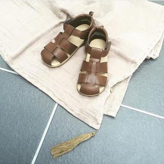 キャラメルベビー&チャイルド(Caramel baby&child )のブラウン サンダル ベルクロ H&M ソルトウォーター 14.5メッシュサンダル(サンダル)