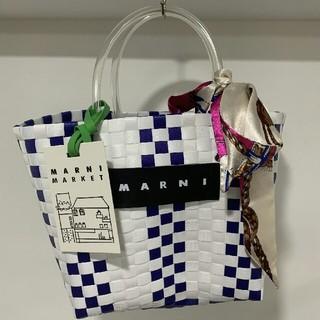 春コーデ新品 MARNI ピクニックバッグ ホワイト+レッド+ブルー