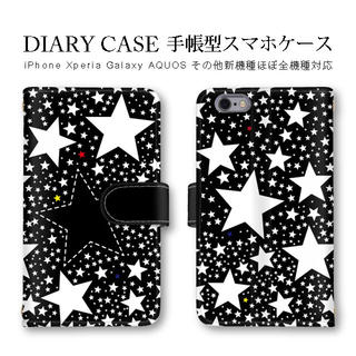 c35f9ff844 iPhone Xperia ほぼ全機種対応 スター 星柄 黒 手帳型ケース(iPhoneケース