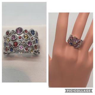 K18WG ダイヤモンド / マルチカラーサファイア リング(リング(指輪))