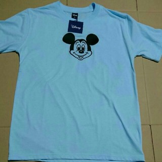 ディズニー(Disney)のミッキーマウス 刺繍半袖Tシャツ カラー スカイブルー 水色 サイズ M(Tシャツ/カットソー(半袖/袖なし))