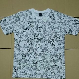 ディズニー(Disney)のミッキーマウス 総柄 半袖Tシャツ カラー ホワイト  サイズ M (Tシャツ/カットソー(半袖/袖なし))