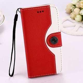 スマホケース レッド iphone 6/6s 手帳型 マグネット シンプル 保護(iPhoneケース)