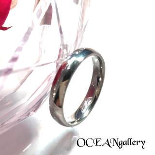 送料無料 25号 シルバー サージカルステンレス シンプル甲丸リング 指輪(リング(指輪))