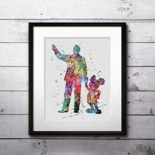 ディズニー(Disney)のウォルトディズニー&ミッキーマウス(ディズニーランド)アートポスター【額縁つき】(ポスター)