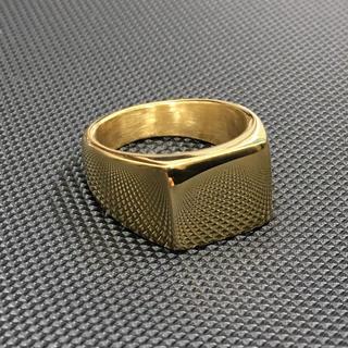 ハーフスクエアリング 印台 ゴールドシグネットリング K18鍍金(リング(指輪))