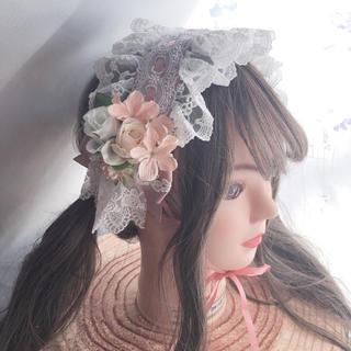 イノセントワールド(Innocent World)の花束ブーケヘッドドレス くすんだピンク(カチューシャ)