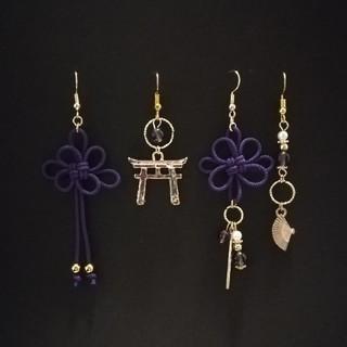 【日本刀or鳥居選択可】和風アシンメトリーピアスセット(紫)(ピアス)