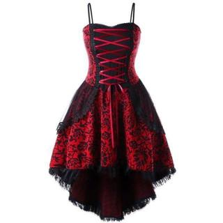 新品大きいサイズ4L6Lゴシック編み上げトレーンコルセットドレスワンピース (ロングドレス)
