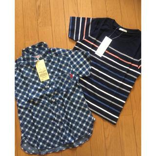 ジーユー(GU)の☆130センチ☆半袖Tシャツ&半袖シャツの2枚セット☆新品☆(Tシャツ/カットソー)