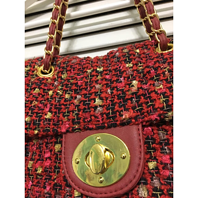 しまむら(シマムラ)のツイードチェーンポシェット 赤 レディースのバッグ(ショルダーバッグ)の商品写真