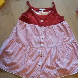 サンカンシオン(3can4on)の赤ストライプ ジャンパースカート 100㎝(ワンピース)