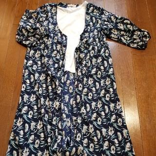 ショコラフィネローブ(chocol raffine robe)のchocol raffine robe 花柄ロングカーディガン×トップス セット(カーディガン)
