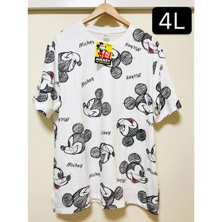 ディズニー(Disney)の新品タグ付き 大きいサイズ4L ミッキー  手書き風 白 Tシャツ(Tシャツ/カットソー(半袖/袖なし))