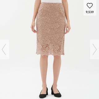ジーユー(GU)のGU レースタイトスカート 新品 S ベージュ(ひざ丈スカート)