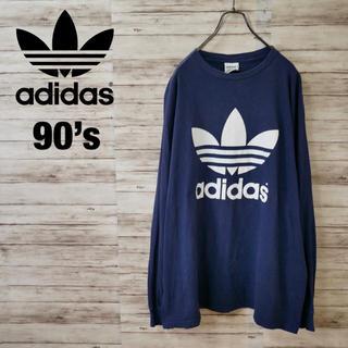 アディダス(adidas)の90's adidas 両面ビッグトレフォイル ゆったりスウェット デカロゴ(Tシャツ/カットソー(七分/長袖))