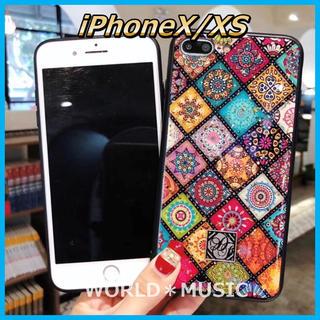 iPhoneX ケース 韓国 エスニック スマホリング ホームボタン 送料無料(iPhoneケース)