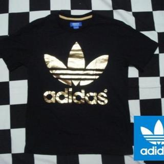 アディダス(adidas)の【アディダス】メンズM黒xゴールドコットンTシャツジャージパーカー(Tシャツ/カットソー(半袖/袖なし))