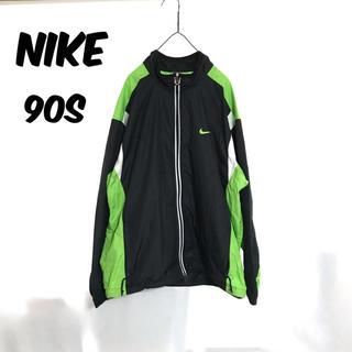 ナイキ(NIKE)のNIKE ナイキ 90s 銀タグ ナイロンジャケット マルチカラー 黒 白 緑(ナイロンジャケット)