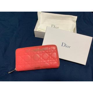 クリスチャンディオール(Christian Dior)のクリスチャンディオール Dior ピンク 柔らかラムレザー 長財布 空箱 保存袋(財布)
