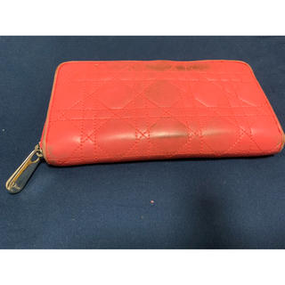 クリスチャンディオール(Christian Dior)のクリスチャンディオール Dior ピンク キルティング 柔らかラムレザー 長財布(財布)