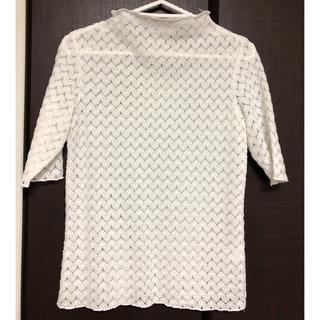 ジーユー(GU)のレースボトルネック Tシャツ【ホワイト】(Tシャツ(半袖/袖なし))