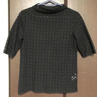 ジーユー(GU)のレースボトルネック Tシャツ【ブラック】(Tシャツ(半袖/袖なし))