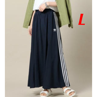 アディダス(adidas)の【レディースL】ネイビー   ロングスカート (ロングスカート)