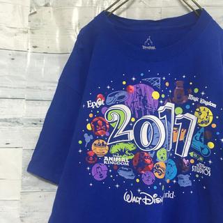 ディズニー(Disney)のディズニー ヘインズ Tシャツ Lサイズ ブルー ビッグプリント USA輸入(Tシャツ/カットソー(半袖/袖なし))