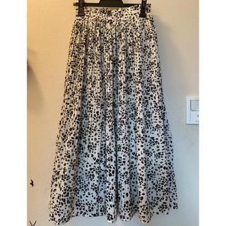 しまむら - しまむら購入💛ホワイトレオパード柄ロングプリーツスカート