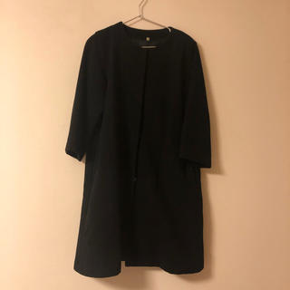 ムジルシリョウヒン(MUJI (無印良品))のMUJI ノーカラーウールコート ブラック L(ロングコート)