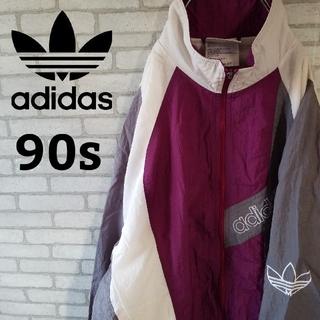 アディダス(adidas)の【90s】アディダス ナイロンジャケット マルチカラー  Lサイズ  フルジョ(ナイロンジャケット)