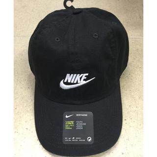 ナイキ(NIKE)のキッズキャップ 黒生地 新品 未使用 送料込み 子供サイズ ジュニア(帽子)
