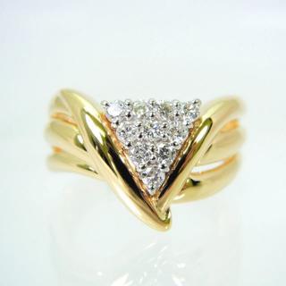 K18/Pt900 ダイヤモンド リング 12号 [f438-55](リング(指輪))