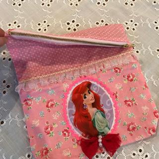 ディズニー(Disney)のハンドメイド♡アリエル姫♡オムツポーチ♡おむつケース♡ディズニープリンセス巾着袋(外出用品)
