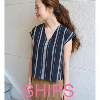 シップス(SHIPS)の美品 SHIPS ストライプ インド綿(カットソー(半袖/袖なし))