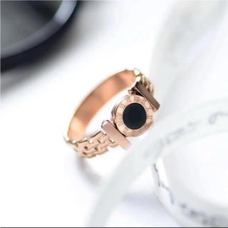 No.9  文字盤×ブラック×ピンクゴールド リング 指輪 ♡(リング(指輪))