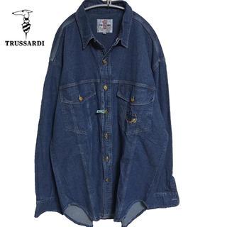 Trussardi - 90s 美品 TRUSSARDI トラサルディ ビックサイズ デニムシャツ