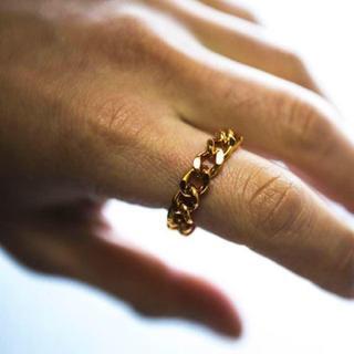 アルミ 8ミリ チェーン リング指輪/ゴールド(リング(指輪))