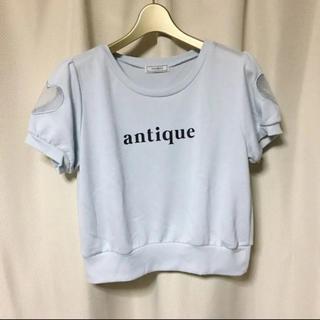 ティティアンドコー(titty&co)のtitty&Co.*パフスリーブ*ハート型モチーフ スウェット/カットソー(カットソー(半袖/袖なし))