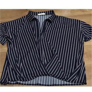 ショコラフィネローブ(chocol raffine robe)のブラウス シャツ 濃紺ベース(シャツ/ブラウス(半袖/袖なし))