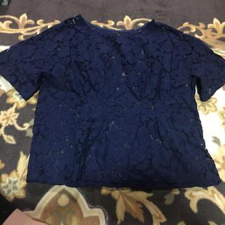 ジーユー(GU)のGU レーストップス  カットソー 半袖 XL(カットソー(半袖/袖なし))