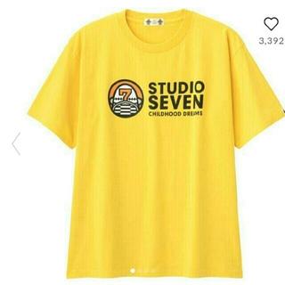 ジーユー(GU)のヘビーウェイトビッグT(半袖)STUDIO SEVENYELLOW色メンズL(Tシャツ/カットソー(半袖/袖なし))