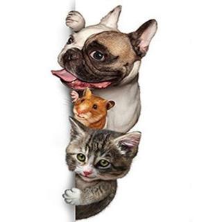 わんことハムと猫(A4額縁付きフルセット) ダイヤモンドアート
