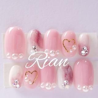 ピンク marble ハート スワロフスキージェル