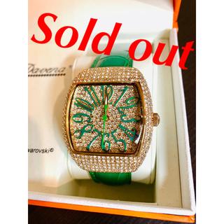 シチズン(CITIZEN)の腕時計 DAVENA ダベナ スワロフスキー CITIZEN 緑 ピンクゴールド(腕時計)