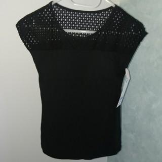ジーユー(GU)の新品♢未使用 タグ付き GU ブラフィール レースT ブラック Mサイズ(カットソー(半袖/袖なし))