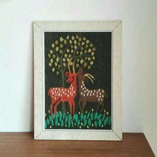 アラビア(ARABIA)のフレミッシュ織りの壁かけ  鹿 ❀ バンビ  from Sweden(置物)