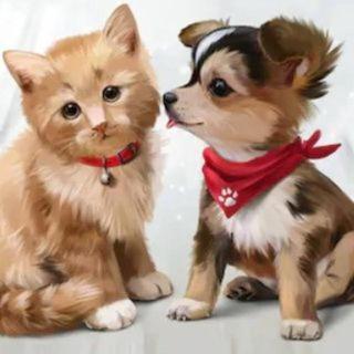 仲良しのワンコとネコ(A4額縁付きフルセット) ダイヤモンドアート