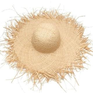 即納品 フリンジハット つば広 麦わら帽子    、